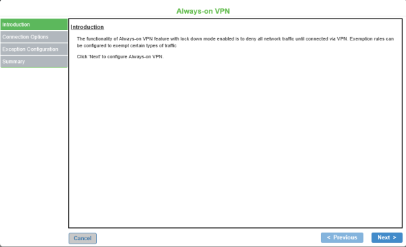 Configuring Always-on VPN Options using Wizards