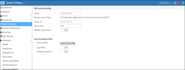 Configuring FortiGate Analyser