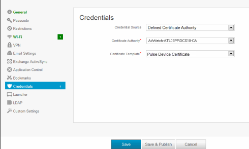 Configuring the airwatch mdm figure214 airwatch certificate template configuration figure215 airwatch credential configuration yadclub Gallery